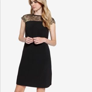 Ted Baker Black and Gold Lace Dress